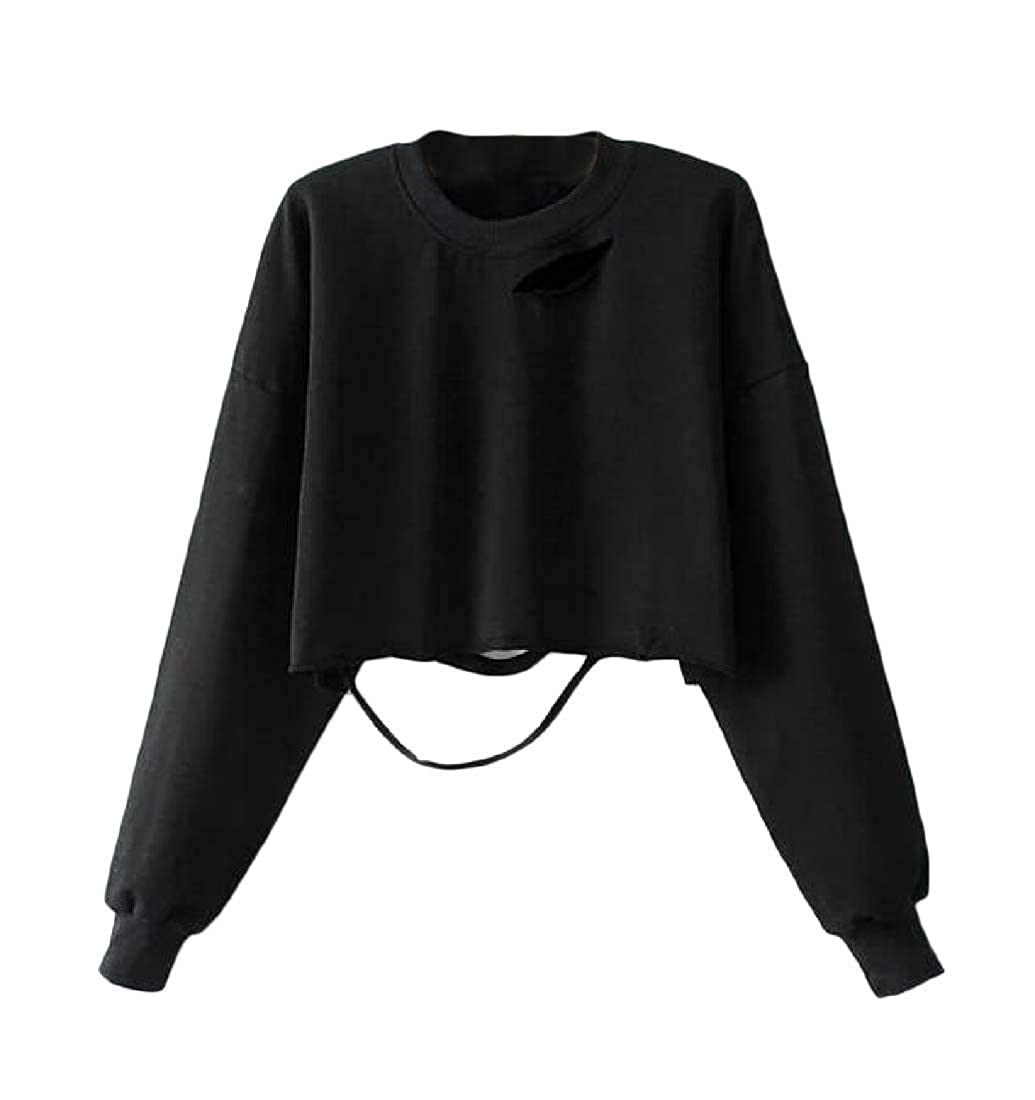 Joe Wenko Womens Loose Crop Top Hole Pullover Short Sweatshirts