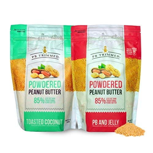 PB Trimmed All Natural & Kosher Premium Powdered Peanut Butter from Real Roasted Pressed Peanuts, Good Source of Protein16 oz Variety 2-Pack Bundle (1 Toasted Coconut (16 oz) + 1 PB & Jelly (16 oz))