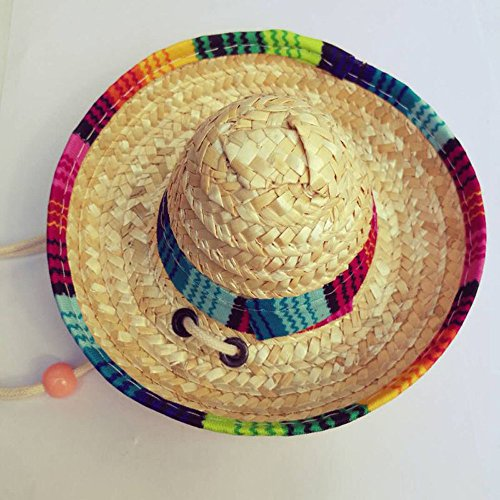 succeedtop Dog Cat Hat, Multicolor Dog Cat Mexican Straw Sombrero Hat Pet Adjustable Buckle Costume Straw Sombrero Pet Adjustable Buckle Cap Costume for Small Puppy (B)]()