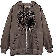 Kookmean Zip Up Sweatshirt for Women, Women's Vintage Graphic Hoodie Aesthetic Pullover Sweatshirt E-Girl