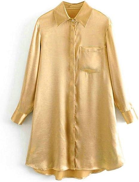 GDCAKMI Vestido de Camisa Dorada para Mujer Vestido de Dama Elegante sólido Bolsillos Femeninos acogedores Vestido Midi de Gran tamaño: Amazon.es: Deportes y aire libre