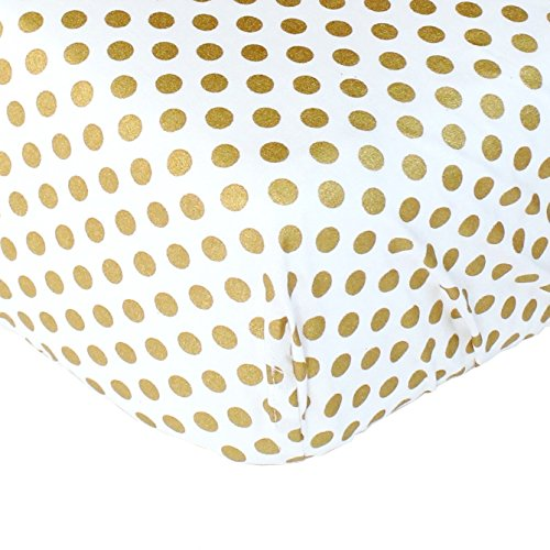 Metallic Gold Dots Fitted Crib Sheet - Fits Standard Crib Mattresses and Daybeds (Gold Fitted Crib Sheet compare prices)