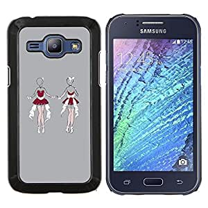 EJOOY---Cubierta de la caja de protección para la piel dura ** Samsung Galaxy J1 J100 ** --Santa sexy lencería boceto mujer gris