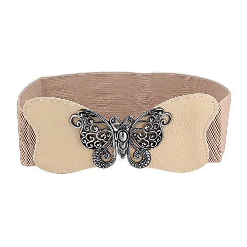 Womans Fashion Elastic Belt Butterfly Style (Khaki)