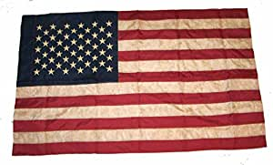 Old Vintage Looking 3 X 5 American Embroidered Flag W Sleeve
