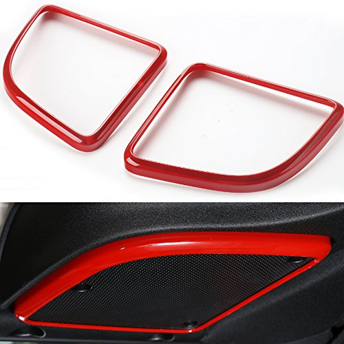 Pair ABS Car Roof Speaker Cover Frame Trim for Jeep Wrangler 2015 2016 (Red)