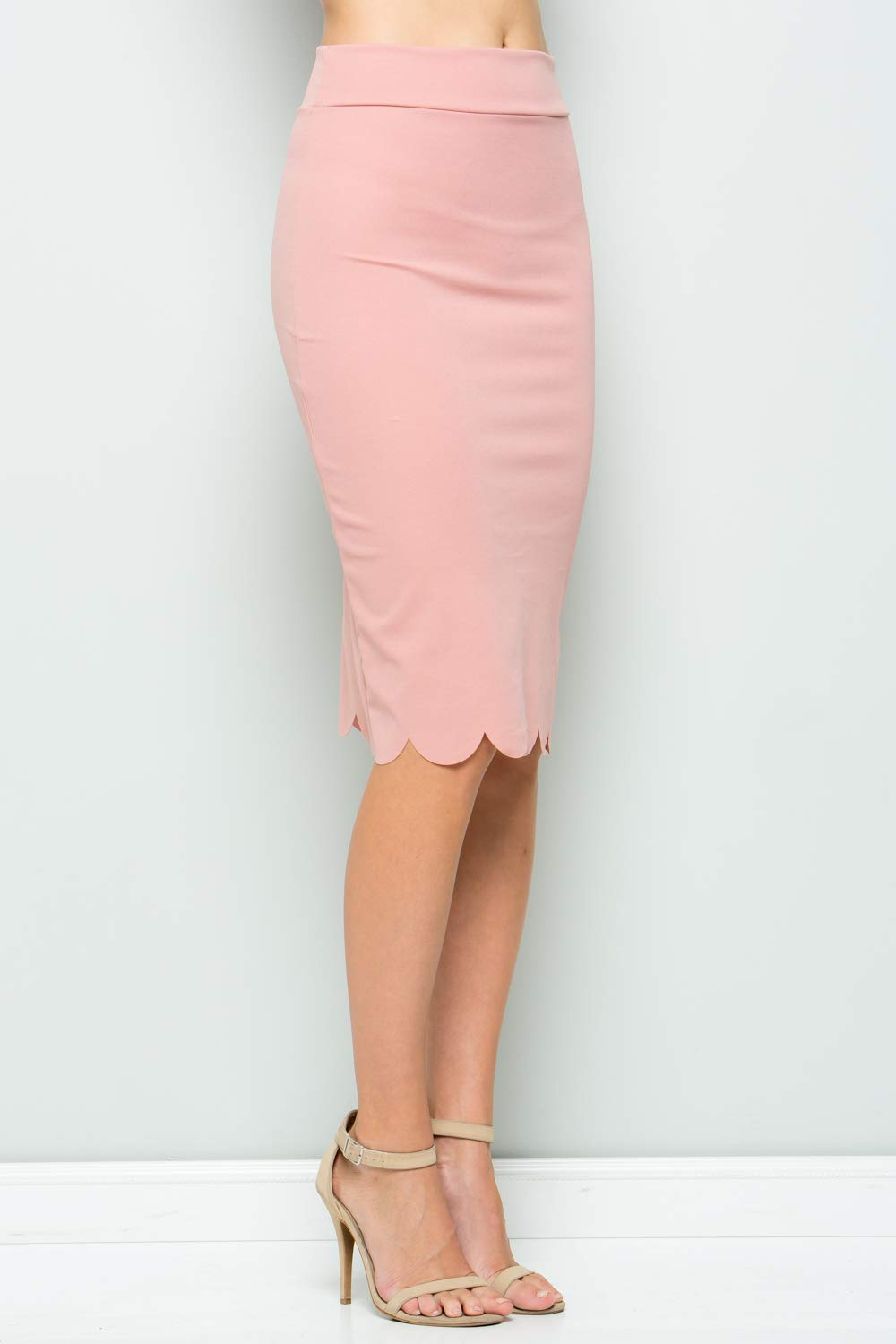 Junky Closet Women's Scallops Knee Length High Waisted Pencil Skirt (Made in USA) (1X-Large, 3635CLAF Dusty Pink) by Junky Closet (Image #3)