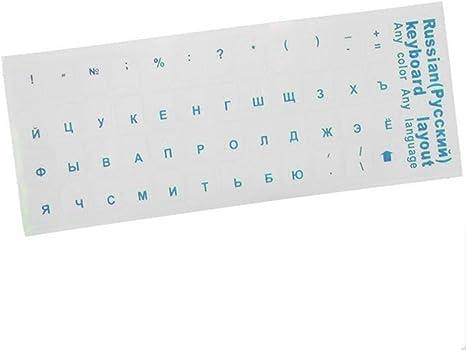Lumpur Multi-Color Teclado Stocker Ruso Suave Teclado Transparente Las Cubiertas Diseño Pegatinas Decoración(Azul)