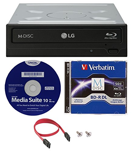 LG WH16NS40K 16X Blu-ray BDXL M-DISC DVD CD Writer Drive (with 3D Playback) Bundle with 50GB Verbatim M-Disc BD-R DL,Cyberlink and Cable