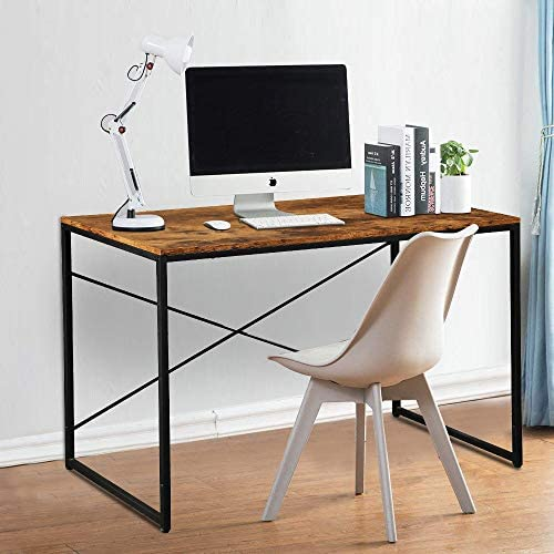 LENTIA Computer Desk Industrial Style Writing Study Desk Simple Study Table