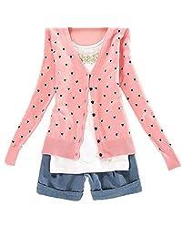Women Cute Button Down Heart-Shape Pattern Casual Knitted Cardigan Sweater Tops