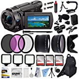 Sony FDR-AX33 4K Ultra HD Handycam Camcorder with 72 Monopod, Mini Tripod, Backpack, Microphone, 3Pcs Filter Kit, 3x64GB Memory Card, Microfiber Cloth, 10Pcs Cleaning Kit and Accessory Set Kit
