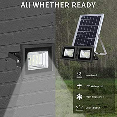 "Solar Flood Lights Outdoor Dusk to Dawn Remote Solar Lights 10W 6V 13.6""x 9.3"" Solar Panels Lights with 800LM Dual 5.1""x 3.9"" 64 LED Flood Lights for Street,Flag Pole,Shed,Barn Lights"