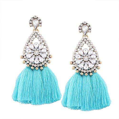 Teardrop Fringe Earrings (jinjiu Bohemian Rhinestone Flower Earrings Women Long Tassel Fringe Dangle Earrings Jewelry (Blue))