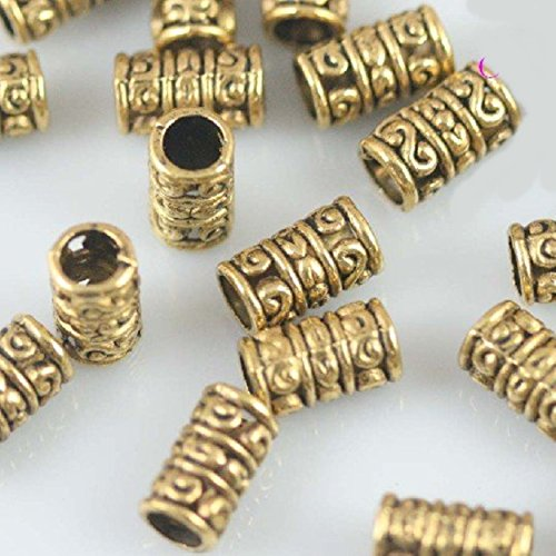 Charm Golden Tibetan Carved Tube Spacer Beads Craft Findings Jewelry Making DIY