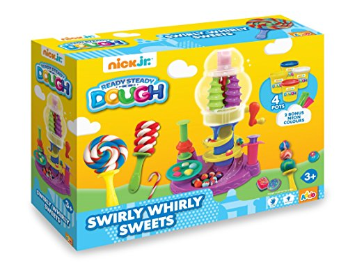 - Nick Jr-Ready Steady Dough-Swirly Whirly Sweets-Bonbon Factory Children Modelling Putty Set 4Power Erknete A 56g and 2Bonus Can of 28g