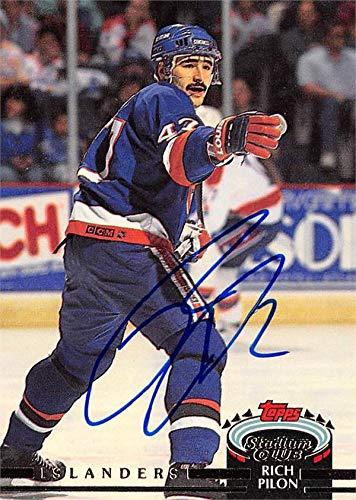 - Rich Pilon autographed Hockey Card (New York Islanders, SC) 1991 Topps Stadium Club #230 - Hockey Slabbed Autographed Cards