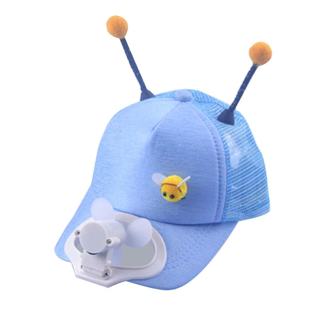 Meidexian888 USB Charging Fan Cap,Children Summer Fan Cooling Baseball Cap Hat USB Charging Shade Sunscreen Hat (Blue)