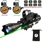 AR15 Tactical Rifle Scope Combo C4-16x50EG Hunting Dual Illuminated with Red Laser sight and 4 Holographic Reticle Red/Green Dot Sight for 22&11mm Weaver/Picatinny Rail Mount (Red Laser+104 Red Dot)