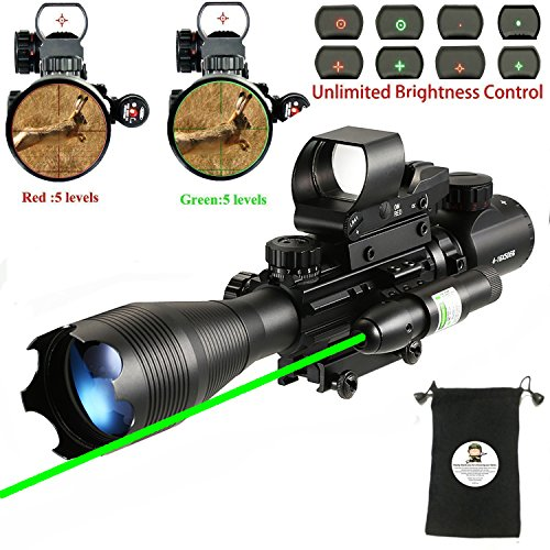 AR15 Tactical Rifle Scope Combo C4-16x50EG Hunting Dual Illuminated with Red Laser sight and 4 Holographic Reticle Red/Green Dot Sight for 22&11mm Weaver/Picatinny Rail Mount (Red Laser+104 Red Dot) by XOPin