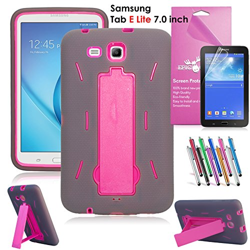 Samsung Galaxy Tab E Lite 7.0 Case, EpicGadget(TM) Heavy Duty Rugged Impact Hybrid Case with Build In Kickstand Protection Cover For Galaxy Tab E 7 T113 + Screen Protector + Pen(US Seller) (Gray/Pink)