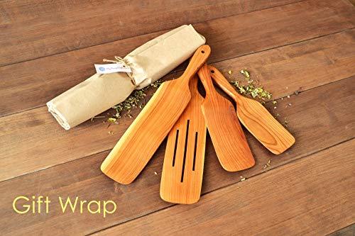 Handmade Utensil Set of 4 Wooden Kitchen Utensils Spatula Cherry Wood Spurtle Kitchen Supplies by MyFancyCraft (Image #6)