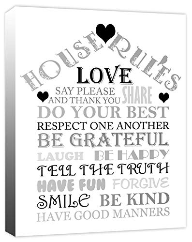 Rubybloom Designs Family House Rules Love Home Quotes Canvas Print