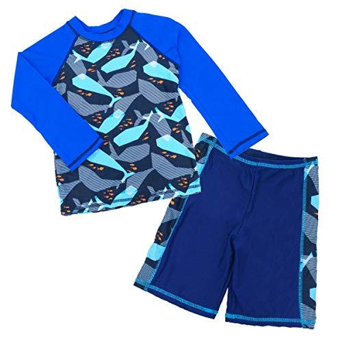 Boys Swim Rashguard Sets Sun Protection Cartoon Crewneck Long Sleeve Two Piece Wetsuit 6-7T Blue - Crew Long Rash Sleeve Guard