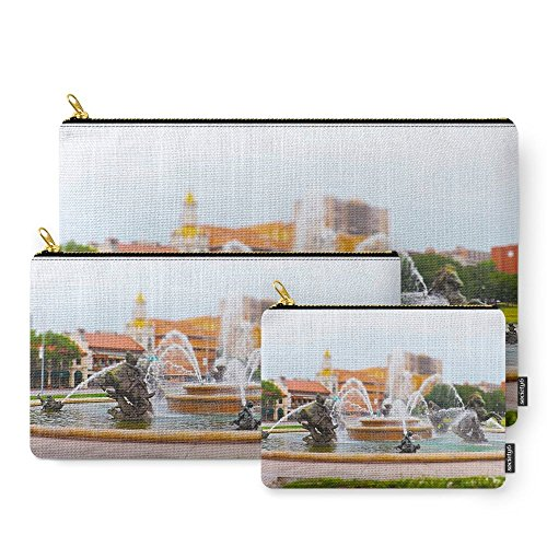 Society6 JC Nichols Horse Fountain Kansas City Country Club Plaza Tilt Shift Carry-All Pouch Set of - Plaza Country