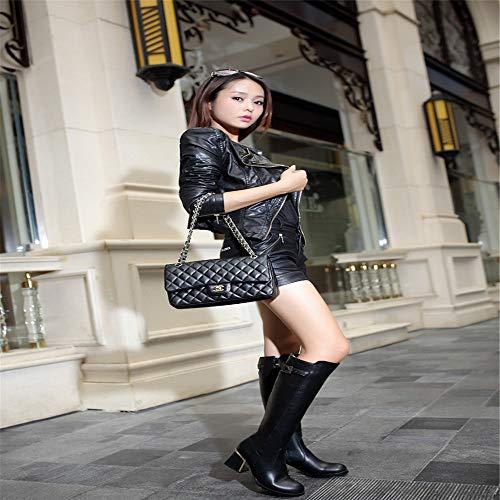 In Fibbia Cavaliere Più stivali Stivali Decorativa Glamour Spessi Nero Tinta Shirloy Temperamento Donna Unita Con wPAzHq
