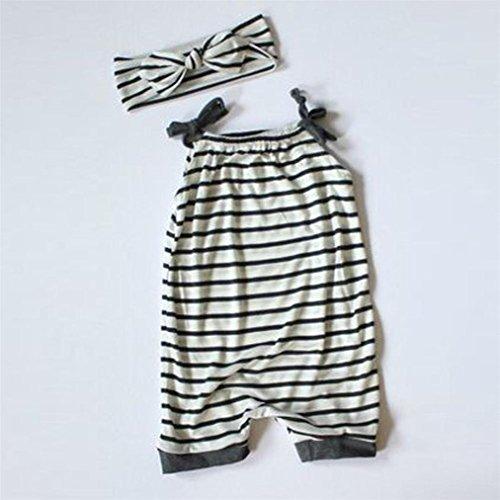 Vovotrade Kleinkind Kinder Baby Mädchen Streifen Ärmelloser Spielanzug Jumpsuit + Stirnband Kleider Set für 3 bis 18 Monate