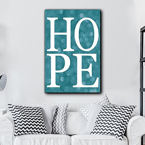 Bold Inspirational Quote Hope on Blue Bokeh Background Home and Dorm Room Decor