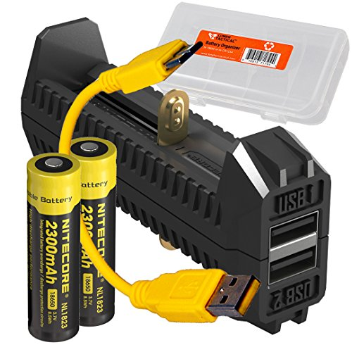 Nitecore F2 Flex Portable Dual-Port Power Bank USB Battery Charger PLUS: 2x Nitecore 2300mAh Rechargeable 18650 Batteries & LumenTac Battery Organizer