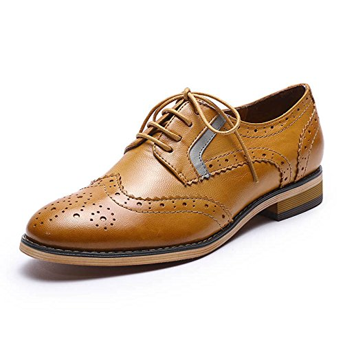 Mona flying Womens Leather Perforated Brogue Wingtip Derby Saddle Oxfords Shoes for Womens ladis Girls Brown
