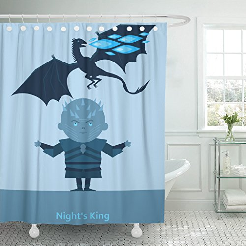 (Emvency Shower Curtain Game King of The Night and Dragon with Blue Flame White Zombie Waterproof Polyester Fabric 72 x 72 inches Set with Hooks)