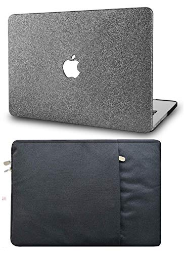 """KECC Laptop Case for MacBook Air 13"""" with Sleeve Plastic Hard Shell Case A1466/A1369 2 in 1 Bundle (Grey Sparkling)"""