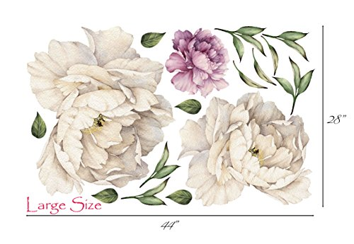- Peony Flowers Vintage Bouquet Wall Decal Sticker Peel and Stick Floral Art Decor Removable and Reusable #3033 (Large, White Bloom - 3 Flowers)
