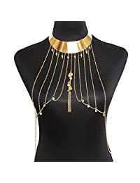 lureme® Punk Style Golden Metal Tassel Body Chain with Choker Necklace (01004099)