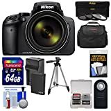 Nikon Coolpix P900 Wi-Fi 83x Zoom Digital Camera + 64GB Card + Battery & Charger + 3 Filters + Case + Tripod Kit (Certified Refurbished)