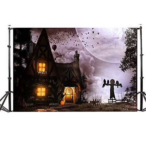 Background Photography Studio Backdrops Halloween Horror Night Ghost is Coming Pumpkin Vinyl 5x3FT Lantern (H)]()