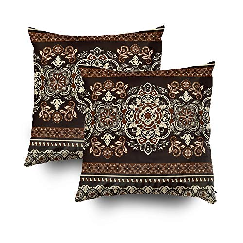 (Floral 18x18 2Pack Pillow Cases,Standard Pillow Case,TOMWISH Zippered Decorative Throw Cotton Pillow Case Cushion Cover for Home Decor ethnic paisley mandala border pattern vector flower design)