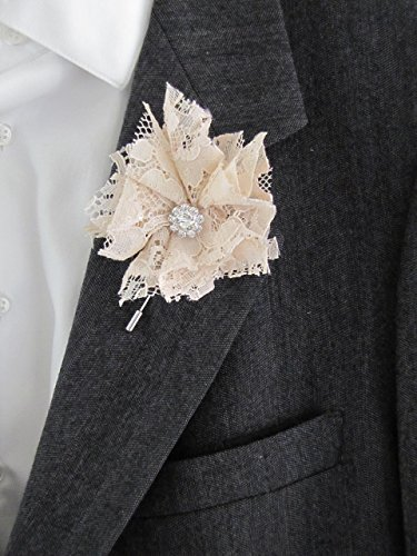 Champagne Shabby Chic Boutonniere Beige Wedding Prom Rustic Buttonhole Groom Groomsman Father Nude Vintage