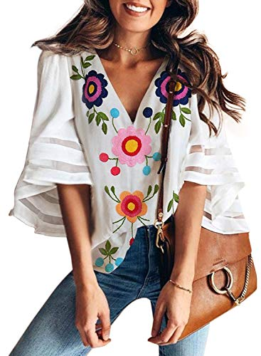 AlvaQ Women Sexy V Neck Floral Printed Blouse 3/4 Bell Sleeve Loose Top Shirt White Small