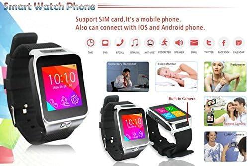 Indigi Indigi SWAP2 (Smart Watch and Phone) GSM + Bluetooth Sync SmartWatch w/Built-in Camera (Silver) 51cmoF7B2BJL