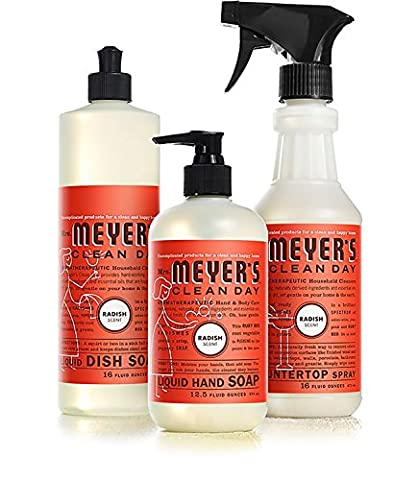Mrs. Meyers Radish Scent Kitchen Basics Set (Meyers Hand Soap Radish)