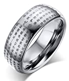 Best Mealguet Wedding Rings - Genuine Tungsten Carbide Chinese Heart Sutra Engraved Domed Review