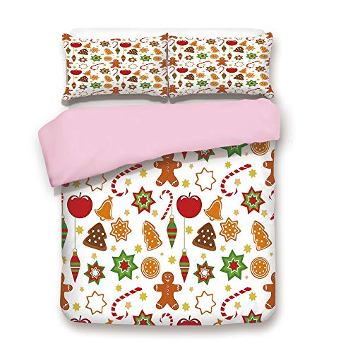 - Pink Duvet Cover Set,Queen Size,Festive Christmas Icons Graphic Pattern Star Figures Cookies Apples Bells Decorative,Decorative 3 Piece Bedding Set with 2 Pillow Sham,Best Gift For Girls Women,Multico