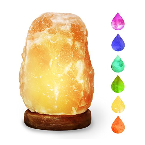 HOCINA Natural Himalayan Rock Salt Mini Lamp Multi Color Change with Wood Base, USB Powered & LED (Bulbs Included) For Baby Room 1.8lbs 4 inch by Hocina (Image #1)