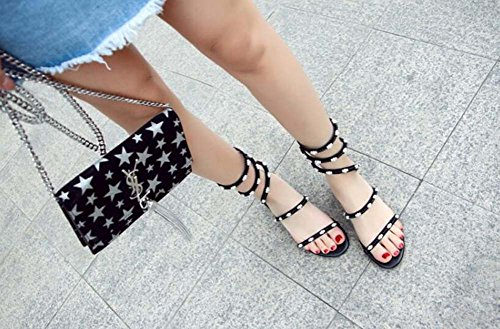 mujer Negro Cinta de punta mano perla verano de cosidos con de Sandalias serpentina SHINIK abierta cuero de con a una Zapatos sandalias q1PWnE