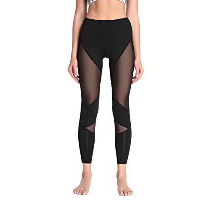 b6952b59d098f Image Unavailable. Image not available for. Color: Women's Stretchy Skinny  Sheer Mesh Insert Workout Leggings Yoga ...